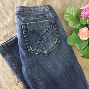 Turquoise detail- SILVER boot cut jeans.